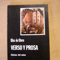 Libros de segunda mano: VERSO Y PROSA - BLAS DE OTERO. Lote 116188395