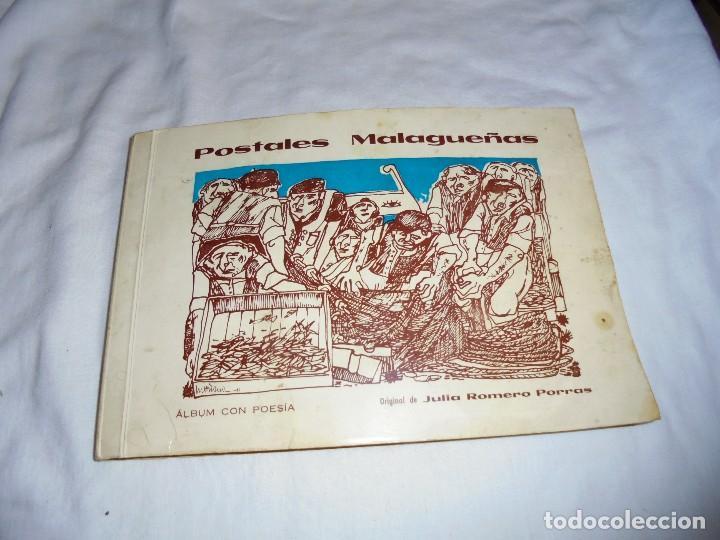 POSTALES MALAGUEÑAS.ALBUM CON POESIA.ORIGINAL DE JULIA ROMERO PORRAS.MALAGA 1970 (Libros de Segunda Mano (posteriores a 1936) - Literatura - Poesía)