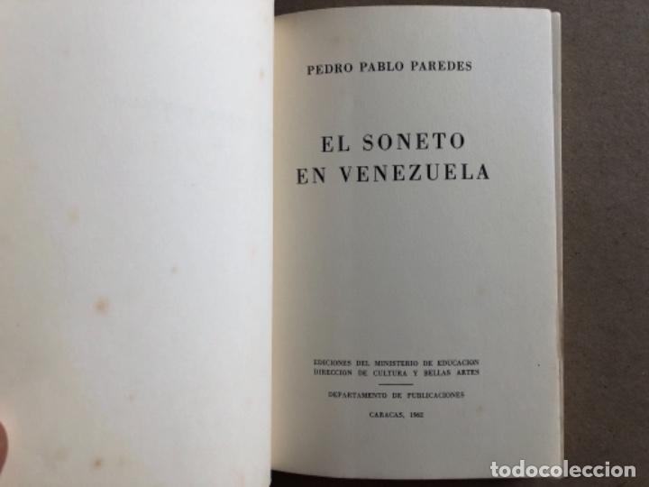 Libros de segunda mano: EL SONETO DE VENEZUELA, POR PEDRO PABLO PAREDES. ED. BIBLIOTECA POPULAR VENEZOLANA, 1962. - Foto 2 - 128518195