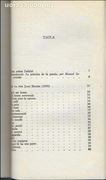 Libros de segunda mano: Poesia rasa, I 1950-1955 / Joan Brossa; Introd. Manuel Sacristán. BCN : Ed.62, 1990. 20x12cm. 245 p. - Foto 2 - 128661711