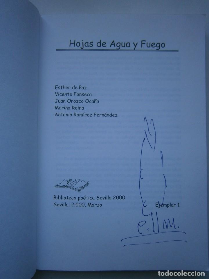 Libros de segunda mano: HOJAS DE AGUA Y FUEGO Biblioteca poetica Sevilla 2000 Esther de Paz Vicente Fonseca Juan Orozco - Foto 5 - 128884627