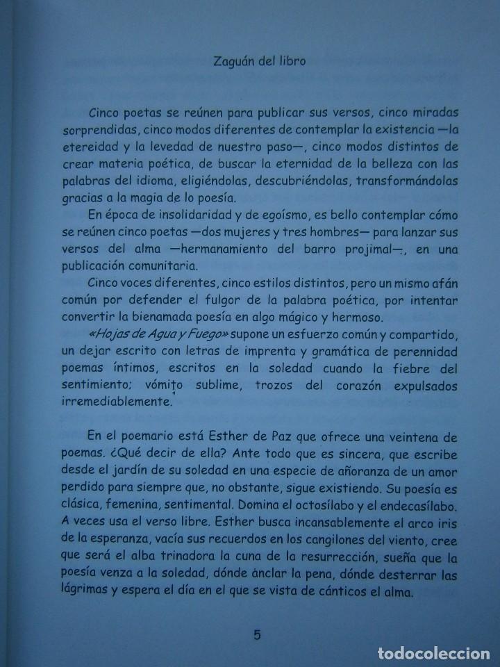 Libros de segunda mano: HOJAS DE AGUA Y FUEGO Biblioteca poetica Sevilla 2000 Esther de Paz Vicente Fonseca Juan Orozco - Foto 6 - 128884627