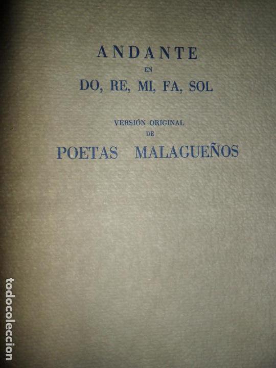 ANDANTE EN DO, RE, MI, FA, SOL, VERSIÓN ORIGINAL DE POETAS MALAGUEÑOS (Libros de Segunda Mano (posteriores a 1936) - Literatura - Poesía)