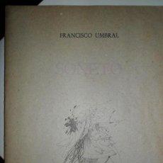 Libros de segunda mano: SONETO, FRANCISCO UMBRAL, EL CAMALEÓN 5, MÁLAGA 1985, PLIEGO DE POESÍA. Lote 134118042
