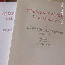 Libros de segunda mano: POEMES SATÍRICS DEL SEGLE XV (2 VOLS). V. FICHA. ED. FACSÍMIL. Lote 137229126