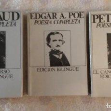 Libros de segunda mano: POESÍA COMPLETA EDGAR A. POE Y PETRARCA (TOMO I) . OBRA COMPLETA RIMBAUD. EDICIÓN BILINGUE. Lote 143129734