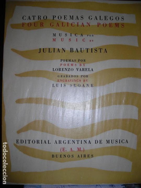 CATRO POEMAS GALEGOS LUIS SEOANE JULIÁN BAUTISTA LORENZO VARELA TIRADA DE 100 EJEMPLARES (Libros de Segunda Mano (posteriores a 1936) - Literatura - Poesía)