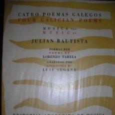 Libros de segunda mano: CATRO POEMAS GALEGOS LUIS SEOANE JULIÁN BAUTISTA LORENZO VARELA TIRADA DE 100 EJEMPLARES. Lote 143185698