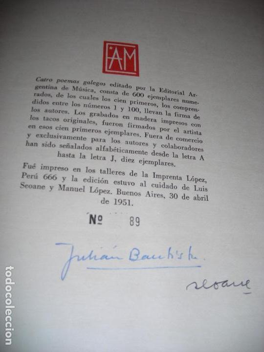 Libros de segunda mano: CATRO POEMAS GALEGOS LUIS SEOANE JULIÁN BAUTISTA LORENZO VARELA TIRADA DE 100 EJEMPLARES - Foto 6 - 143185698