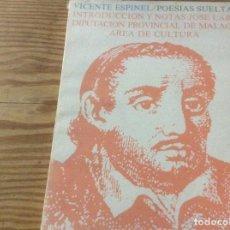 Libros de segunda mano: POESÍAS SUELTAS - VICENTE ESPINEL. Lote 146806846