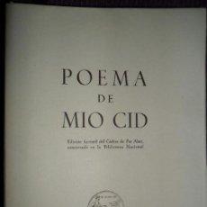 Libros de segunda mano: POEMA DEL MIO CID, EDICIÓN FACSÍMIL DEL CÓDICE PER ABAT. Lote 147743754