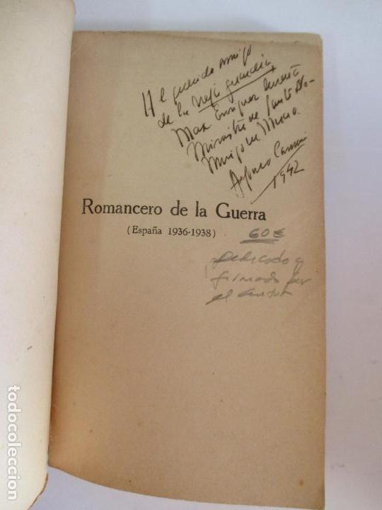 Libros de segunda mano: ROMACERO DE LA GUERRA (ESPAÑA 1936 - 1938) ALFONSO CAMIN. MEXICO 1939. FIRMADO Y DEDICADO AUTOR. - Foto 2 - 148467338