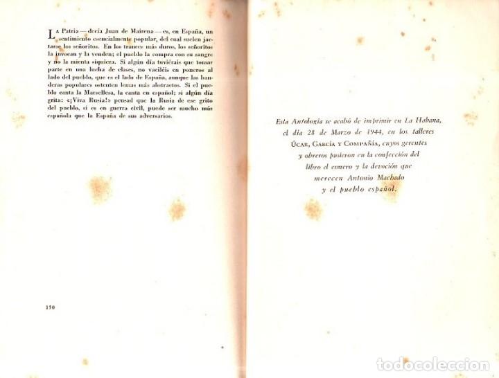 Libros de segunda mano: ANTOLOGIA DE GUERRA. VERSO Y PROSA. ANTONIO MACHADO. EDICION HOMENAJE, LA HABANA, 1944. - Foto 4 - 153786142