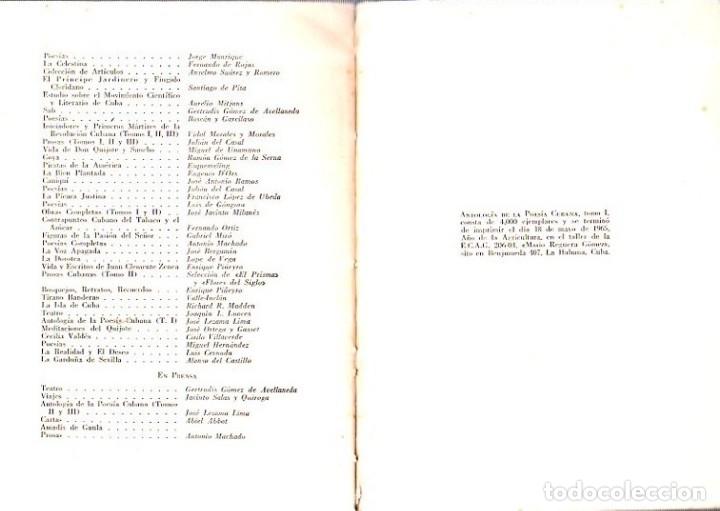 Libros de segunda mano: ANTOLOGIA DE LA POESIA CUBANA. OBRA EN TRES TOMOS. JOSE LEZAMA LIMA. 4000 EJEMPLARES, 1965. - Foto 8 - 153798614