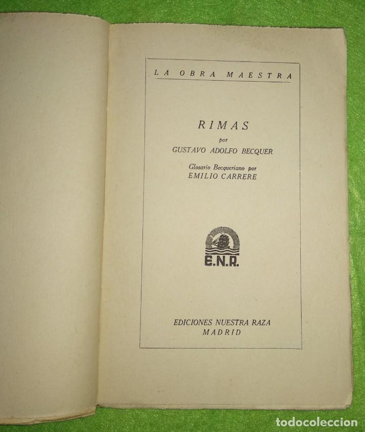 Libros de segunda mano: RIMAS POR BÉCQUER. LA OBRA MAESTRA - EDICIONES NUESTRA RAZA MADRID - Foto 2 - 154009654