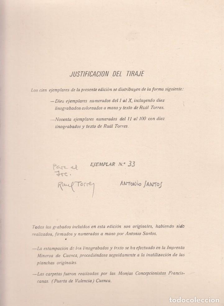 RAUL TORRES. EL ANGEL DE LA LUZ SEÑALÓ CUENCA. ANTONIO SANTOS: LINOGRABADOS. CUENCA, 1980 (Libros de Segunda Mano (posteriores a 1936) - Literatura - Poesía)