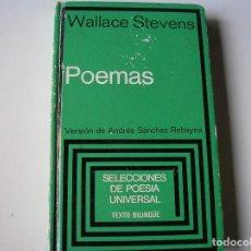 Libros de segunda mano: POEMAS.- WALLACE STEVENS.- PLAZA JANÉS 1980.- BILINGÜE.. Lote 162925946