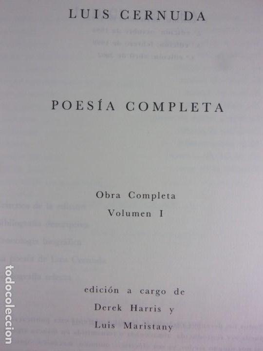 Libros de segunda mano: POESÍA COMPLETA. Vol-1 / Luis Cernuda / 1993. Siruela - Foto 2 - 163743906