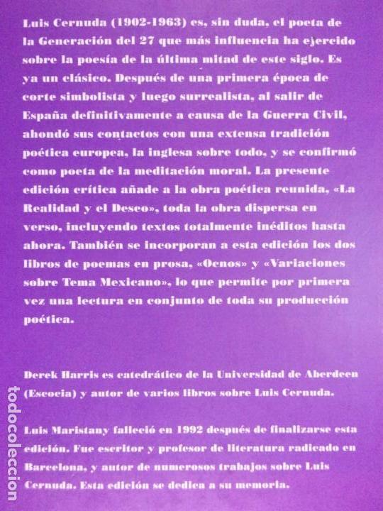 Libros de segunda mano: POESÍA COMPLETA. Vol-1 / Luis Cernuda / 1993. Siruela - Foto 3 - 163743906