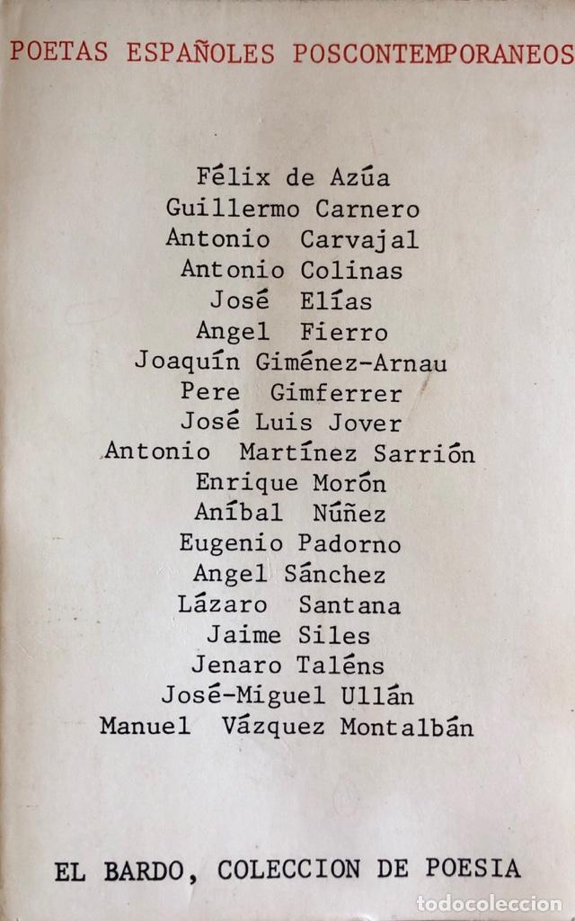 POETAS ESPAÑOLES POSCONTEMPORANEOS. EL BARDO, COLECCIONDE POESIA. BARCELONA, 1974. (Libros de Segunda Mano (posteriores a 1936) - Literatura - Poesía)