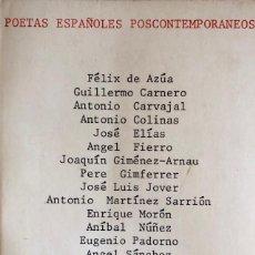 Libros de segunda mano: POETAS ESPAÑOLES POSCONTEMPORANEOS. EL BARDO, COLECCIONDE POESIA. BARCELONA, 1974.. Lote 166297882