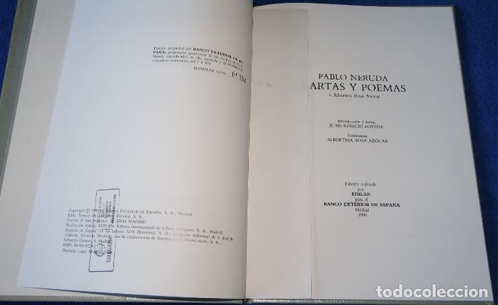 Libros de segunda mano: Cartas y Poemas - Pablo Neruda - Banco Exterior de España - Edición Limitada y numerada (1990) - Foto 6 - 168384400