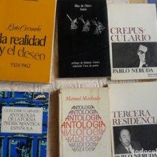 Libros de segunda mano: LOTE 7 LIBROS DE POESÍA: CERNUDA, MANUEL MACHADO, PABLO NERUDA...VER DESCRIPCIÓN. Lote 168494468