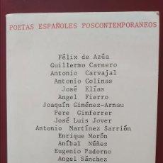 Libros de segunda mano: POETAS ESPAÑOLES POSCONTEMPORANEOS.- 1974. PRIMERA EDICIÓN.. Lote 168615404