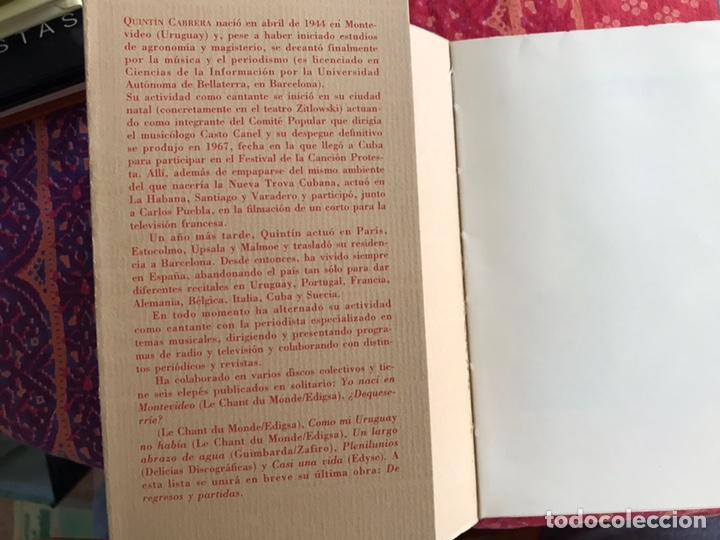 Libros de segunda mano: Canciones. Quintín Cabrera. Ediciones de la guerra & el café Malvarrosa. Valencia 1.998 - Foto 3 - 171969645