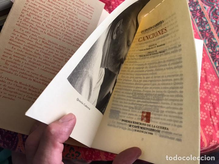 Libros de segunda mano: Canciones. Quintín Cabrera. Ediciones de la guerra & el café Malvarrosa. Valencia 1.998 - Foto 4 - 171969645