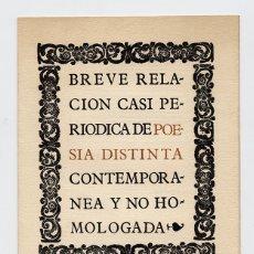 Libros de segunda mano: GABINO-ALEJANDRO CARRIEDO (PALENCIA 1923) · BREVE RELACIÓN CASI PERIÓDICA DE POESÍA DISTINTA .... Lote 175737923