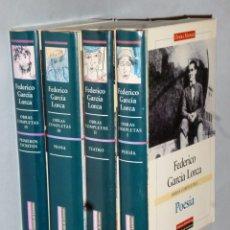 Libros de segunda mano: OBRAS COMPLETAS DE FEDERICO GARCÍA LORCA. 4 TOMOS. POESÍA-TEATRO-PROSA-PRIMEROS ESCRITOS. Lote 175798962