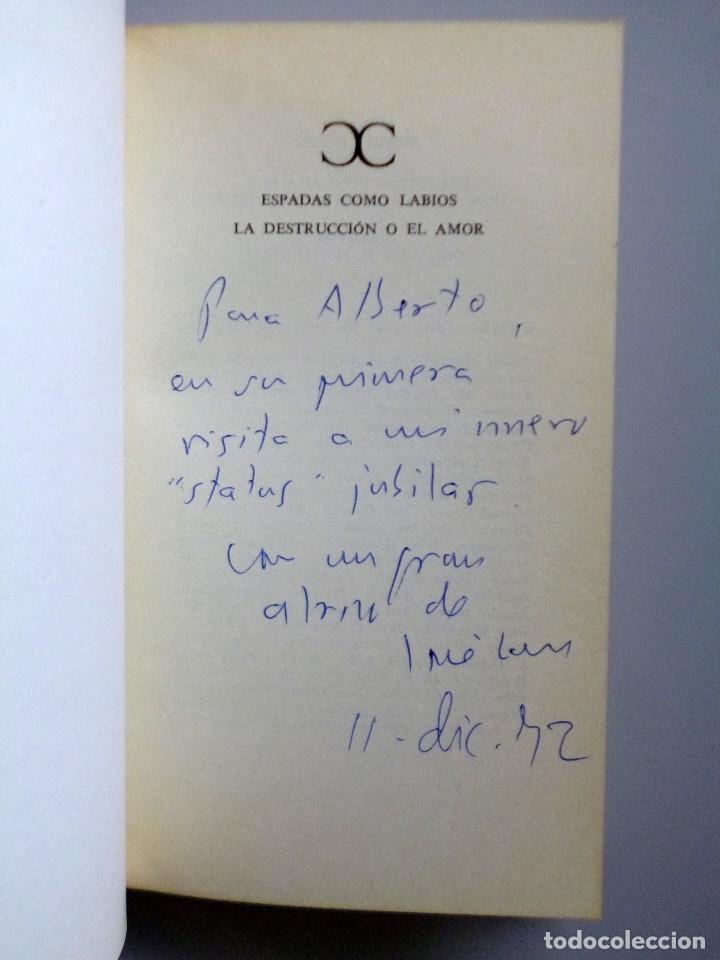VICENTE ALEIXANDRE // ESPADAS COMO LABIOS. LA DESTRUCCIÓN O EL AMOR // DEDICATORIA JOSE LUIS CANO (Libros de Segunda Mano (posteriores a 1936) - Literatura - Poesía)