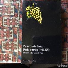 Libros de segunda mano: PABLO GARCÍA BAENA. POESÍA COMPLETA 1940-1980. Lote 176795050