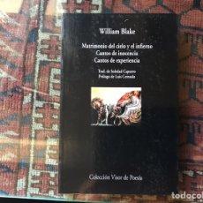 Libros de segunda mano: MATRIMONIO DEL CIELO Y EL INFIERNO. CARTAS DE INOCENCIA. CARTAS DE EXPERIENCIA. WILLIAM BLAKE. Lote 178395908