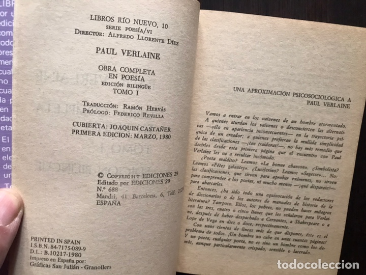 Libros de segunda mano: Verlaine. Obra poética completa. Edición bilingüe. Dos libros - Foto 6 - 180150982