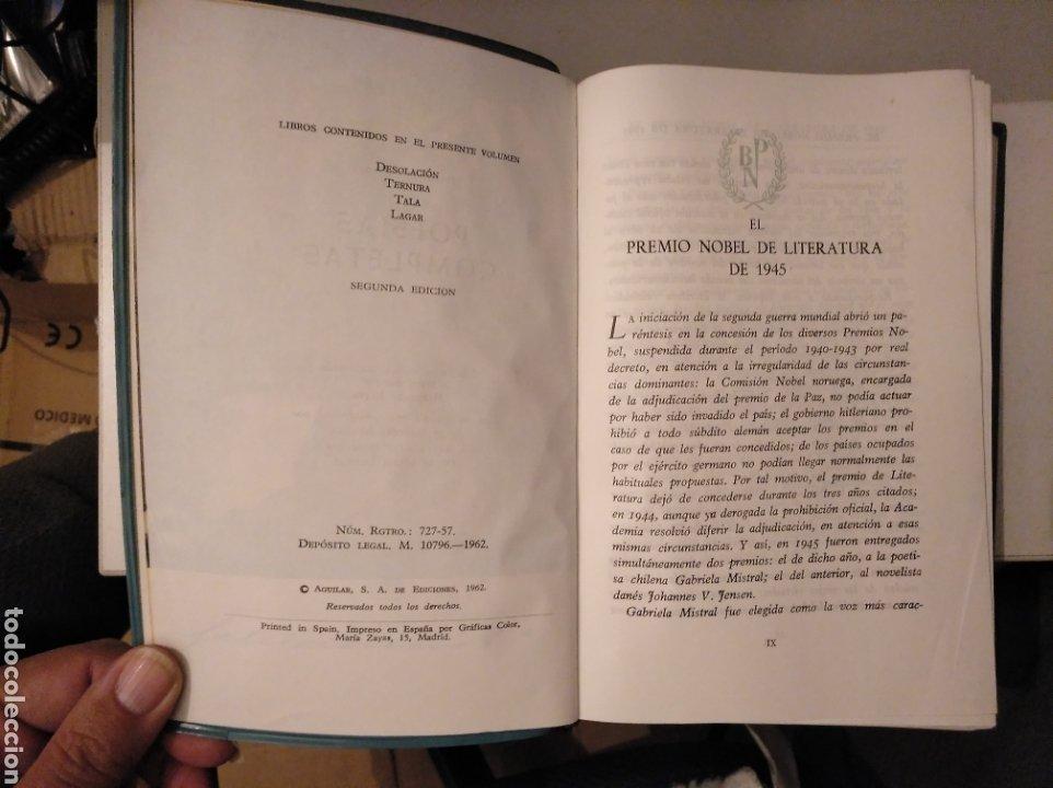 Libros de segunda mano: Poesías completas. Nobel 1945. Gabriela mistral. desolación; Ternura; tala; lagar. Aguilar - Foto 2 - 186298387
