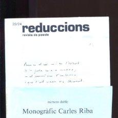 Libros de segunda mano: REDUCCIONS Nº 23 / 24. REVISTA DE POESIA. NÚMERO MONOGRÀFIC CARLES RIBA 1977. Lote 187185743