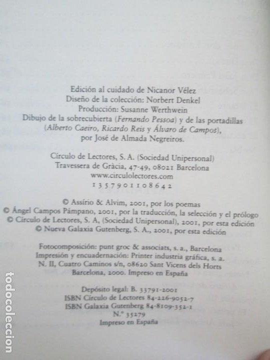 Libros de segunda mano: FERNANDO PESSOA. UN CORAZON DE NADIE.ANTOLOGIA POETICA .CIRCULO DE LECTORES. 2001 - Foto 12 - 194221116
