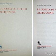Libros de segunda mano: BOUSOÑO, CARLOS. LA POESÍA DE VICENTE ALEIXANDRE. 1956.. Lote 194268191