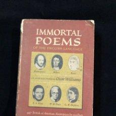 Libros de segunda mano: INMORTAL POEMS. Lote 194327977