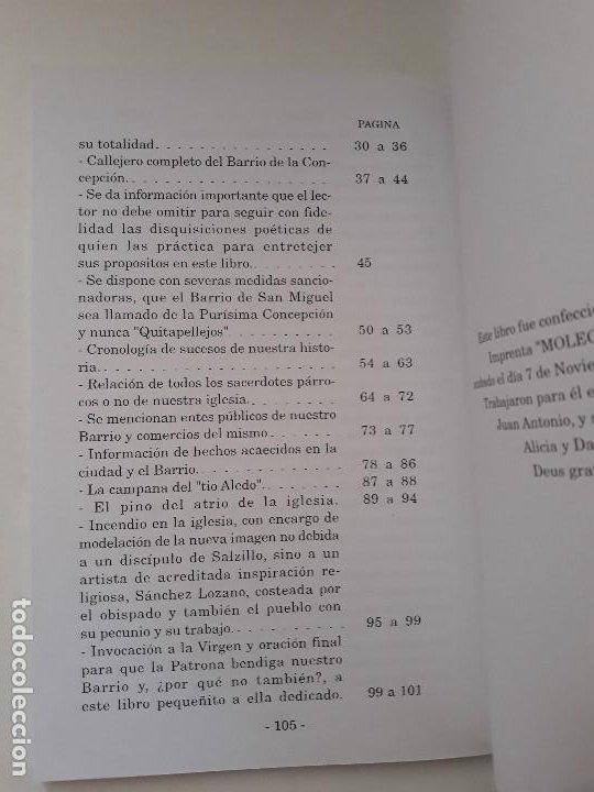 Libros de segunda mano: La Historia del Barrio de la Concepcion y su litigio Quitapellejos. Imp. Molegar. Cartagena. 2002 - Foto 4 - 194351336
