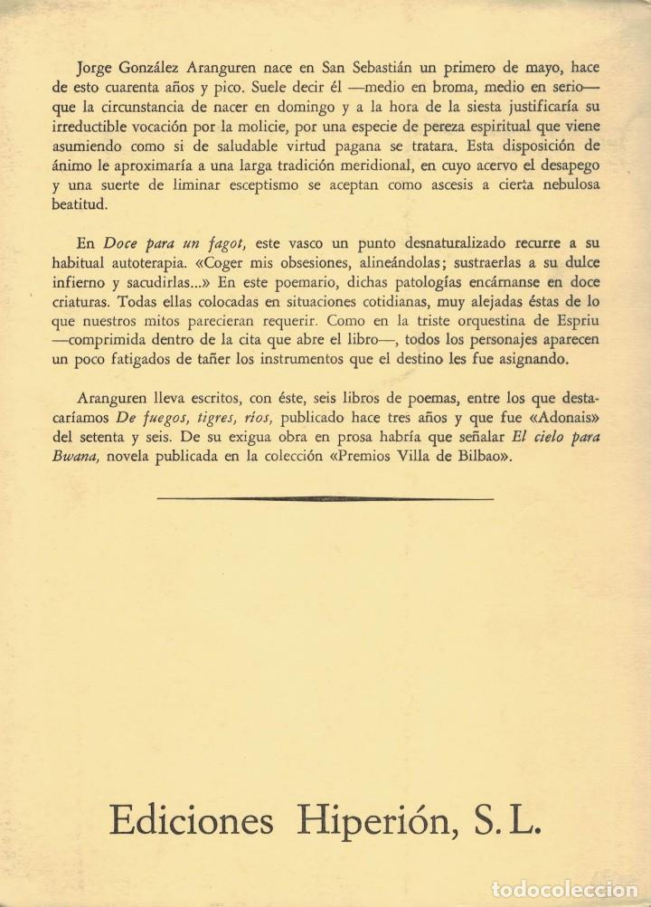 Libros de segunda mano: Jorge G. Aranguren, Doce para un fagot. / Hiperión 198. 1ª edición - Foto 2 - 195357381