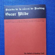 Libros de segunda mano: OSCAR WILDE BALADA DE LA CARCEL DE READING THE BALLAD OF READING GAOL. Lote 196355245