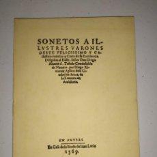 Libros de segunda mano: FACSÍMIL. 1569. SONETOS A ILUSTRES VARONES. DIEGO XIMÉNEZ AYLLON.. Lote 203896142