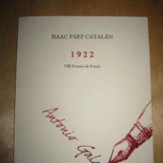 Libros de segunda mano: 1922. ISAAC PÁEZ CATALÁN. Lote 204994983