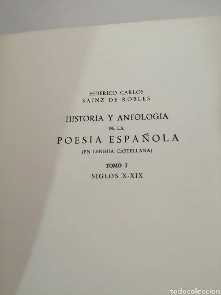 Libros de segunda mano: HISTORIA Y ANTOLOGIA DE LA POESIA ESPAÑOLA . En lengua castellana. Tomo I : Siglo X-XIX - Foto 3 - 205648735