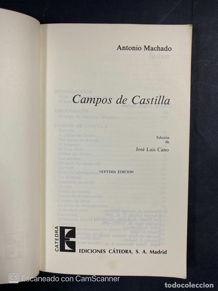 Libros de segunda mano: CAMPOS DE CASTILLA. ANTONIO MACHADO. EDICION DE JOSE LUIS CANO. CATEDRA. MADRID, 1981. PAGS:183 - Foto 3 - 206974590