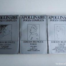 Libros de segunda mano: APOLLINAIRE POESÍA COMPLETA EDICIÓN BILINGUE / LIBROS RIO NUEVO - EDICIONES 29, 1980 1981. Lote 207248660