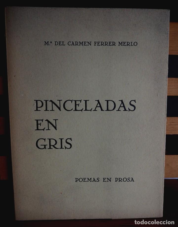 PINCELADAS EN GRIS. Mª DEL CARMEN FERRER MERLO. POEMAS EN PROSA. DIBUJOS C. PERELLON. (Libros de Segunda Mano (posteriores a 1936) - Literatura - Poesía)